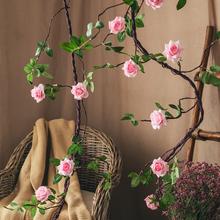 【七茉ow仿真树藤玫ow藤条绿植墙藤蔓植物空调管道装饰壁挂