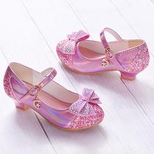 女童单ow高跟皮鞋爱ow亮片粉公主鞋舞蹈演出童鞋(小)中童水晶鞋