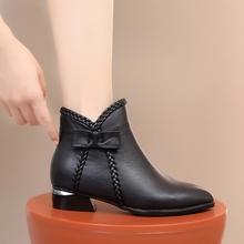 202ow新式女靴冬ow真皮棉鞋大码秋冬短靴女靴子百搭平底马丁靴