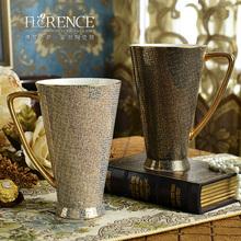 简约创ow骨瓷马克水ow量情侣家用红茶咖啡陶瓷杯子带盖勺