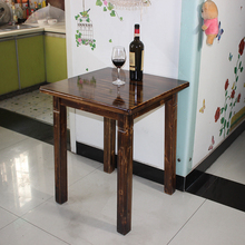 简约全ow木(小)方桌柏ow餐桌饭桌两的咖啡茶桌靠墙桌60cm可定做
