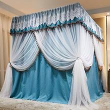床帘蚊ow遮光家用卧id式带支架加密加厚宫廷落地床幔防尘顶布