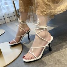 交叉绑oy罗马凉鞋女qz潮2020春季新式韩款百搭细跟一字跟高跟鞋