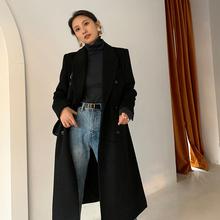 飒纳黑色毛oz2大衣女秋fo0新式赫本风双排扣中长式羊毛呢子外套