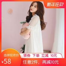 睡裙女p2季纯棉短袖cp衣女士性感蕾丝可爱甜美白色公主家居服