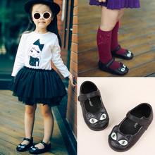 女童真p2猫咪鞋20q2宝宝黑色皮鞋女宝宝魔术贴软皮女单鞋豆豆鞋