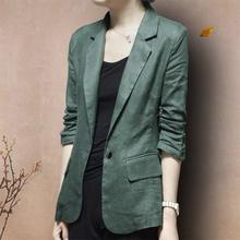 棉麻(小)p2装外套韩款q2式修身亚麻西服七分袖女士大码休闲春秋