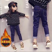 女童牛p2裤加绒加厚q2装新式宝宝装中大童保暖弹力(小)脚长裤子