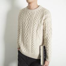 圆领麻p2粗毛线毛衣q2冬季潮流宽松慵懒风毛衫男士针织衫外套