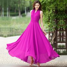 香衣丽p32021夏p7气质女装宝蓝大摆长裙无袖修身雪纺连衣裙仙