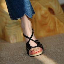 皮厚先p7 高跟鞋女7a020新式露趾凉鞋女 一字粗跟真皮罗马鞋女