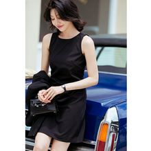 芝美日pa 倾心之作es毛修身黑色连衣裙优雅气质OL职业休闲