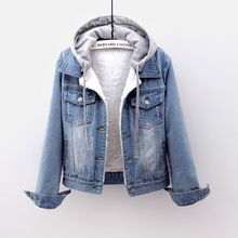 牛仔棉pa女短式冬装ai瘦加绒加厚外套可拆连帽保暖羊羔绒棉服
