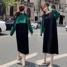 外出哺pa衣长式卫衣ai装时尚韩款潮妈式产后宽松喂奶衣连衣裙
