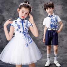 六一儿pa演出服女蓬ma演服装男童中国风主持的礼服幼儿合唱服