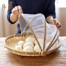 竹编制pa防蝇干货晾at家竹筛子圆防虫馒头筐竹子收纳晒网