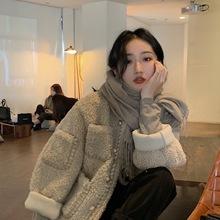 (小)短式pa羔毛绒女冬atYIMI2020新式韩款皮毛一体宽松厚外套女