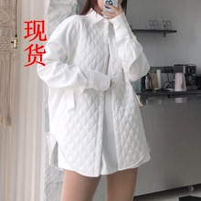 曜白光pa 设计感(小)li菱形格柔感夹棉衬衫外套女冬
