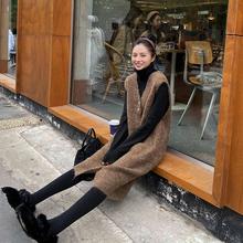 A7spaven针织li女秋冬韩款中长式黑色V领外穿学生毛衣连衣裙子