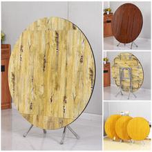 简易折pa桌家用实木li圆形饭桌正方形可吃饭伸缩桌子