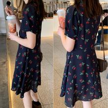 微胖妹妹mm夏装2pa60斤显瘦es装雪纺红樱桃印花中长式连衣裙