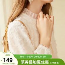 202pa秋冬季新式am女加绒蕾丝打底衫高领衬衫甜美内搭洋气上衣