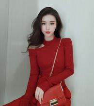 2020pa1季设计师am制水晶烫钻红色露肩针织衫上衣女显瘦优雅