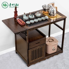 茶几简pa家用(小)茶台do木泡茶桌乌金石茶车现代办公茶水架套装