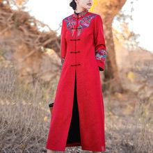 中年女pa风衣女20do冬新式红色中式加长式婚庆外套高档奢侈大牌