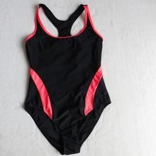 特价英pa训练式游泳ge式专业连体无胸垫黑色竞速女士泳装