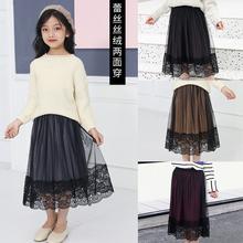 [panzhao]女童半身纱裙丝绒百褶裙中