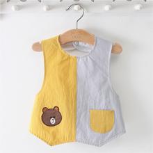 阿喜和pa宝宝罩衣纯er护衣男女孩双排宝宝防水防脏衣