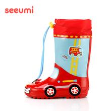 Seepami 汽车is龙男童学生防滑束口四季雨鞋胶鞋雨靴