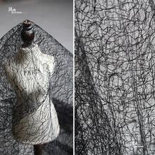 创意黑白色肌理网纱蕾丝设计师pa11料 dke衣裙礼服布料