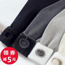 加绒(小)pa女外穿秋冬ke色厚高腰深浅灰竖条纹踩脚保暖裤