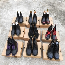 全新Dpa. 马丁靴ou60经典式黑色厚底  工装鞋 男女靴
