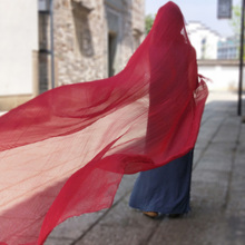 红色围pa3米大丝巾se气时尚纱巾女长式超大沙漠披肩沙滩防晒