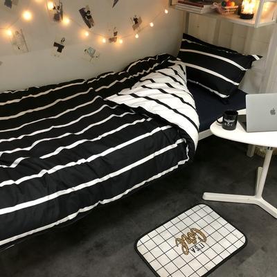 ins北欧条纹日式四件套裸婚pa11代床上se寝室宿舍0.9三件套
