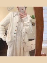 mimpaus201se新式圆领开衫外套女针织甜美女生百搭气质毛衣上衣
