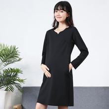 孕妇职pa工作服20ve季新式潮妈时尚V领上班纯棉长袖黑色连衣裙