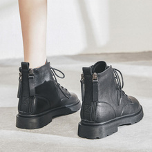 真皮马pa靴女202ri式低帮冬季加绒软皮子英伦风(小)短靴