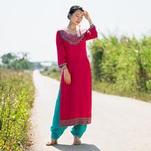 印度传pa服饰女民族ri日常纯棉刺绣服装薄西瓜红长式新品包邮