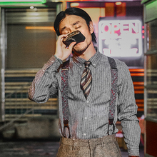 SOApaIN英伦风ri纹衬衫男 雅痞商务正装修身抗皱长袖西装衬衣