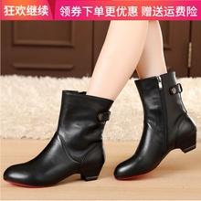 秋冬季pb鞋粗跟短靴jj单靴真皮靴子短筒靴大码中跟41加绒棉靴