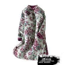 原创文pb复古棉麻棉zy厚撞色碎花里衬中长袍子连衣裙盘扣棉衣