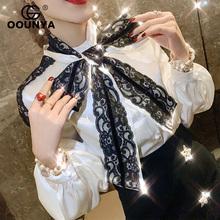 格润雅pb蝶结衬衫女zy0春夏新式蕾丝拼接个性时尚上衣韩款白衬衣