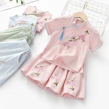 女童汉pb中国风改良ud020夏季新式宝宝(小)女孩洋气唐装复古套装