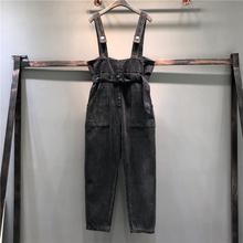 欧洲站pb腰牛仔背带bw020秋冬新式韩款个性宽松收腰连体裤长裤