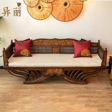 异丽东pc亚风格家具1a典实木罗汉床泰式仿古柚木雕客厅沙发床