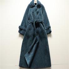 亏!一pc不留 羊羔hr皮毛一体海宁皮草大衣中长式系带冬外套